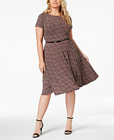 Jessica Howard Plus Size Belted & Printed A-Line Dress