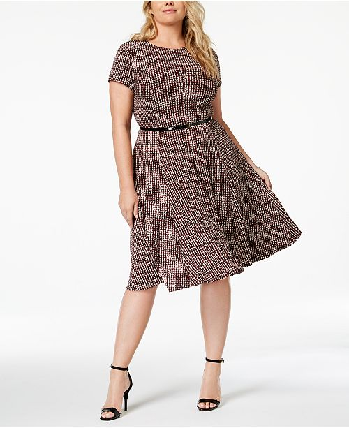 Jessica Howard Plus Size Belted & Printed A-Line Dress ...