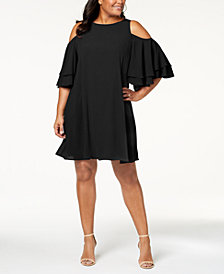 Jessica Howard Plus Size Cold-Shoulder Ruffle Dress