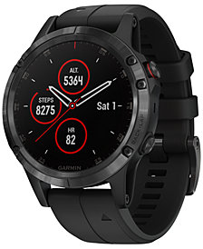 Garmin Unisex fenix® 5 Plus Black Silicone Strap Smart Watch 47mm