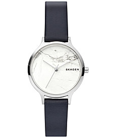 Skagen Women's Anita Blue Leather Strap Watch 34mm