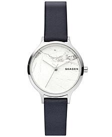 Skagen Women's Anita Blue Leather Strap Watch 34mm