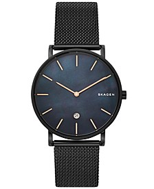 Hagen Slim Black Stainless Steel Mesh Bracelet Watch 40mm