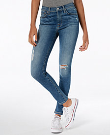 7 For All Mankind The High-Waisted Skinny Destructed Ankle Jeans
