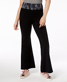 Material Girl Juniors' Printed-Waist Flare-Leg Leggings, Created for Macy's