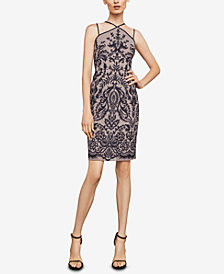 BCBGMAXAZRIA Sleeveless Embroidered Halter Dress
