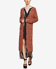 BCBGMAXAZRIA Open-Stitch Striped Long Cardigan
