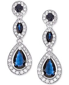 Sapphire (1-1/2 ct. t.w.) & Diamond (1/3 ct. t.w.) Drop Earrings in 14k White Gold