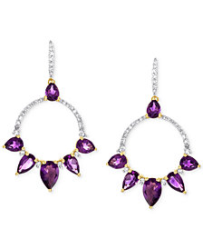 Amethyst & Diamond Earrings in White Rhodium
