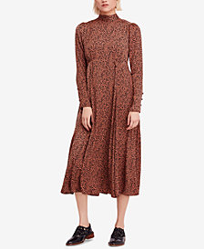 Free People Loveless Printed Open-Back Midi Dress