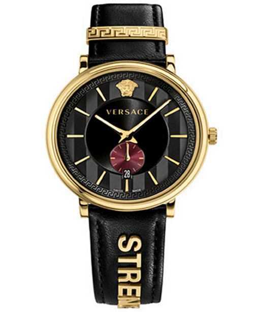 ffa062b3fd Versace Men's Swiss V-Circle Manifesto Edition Black Leather Strap ...