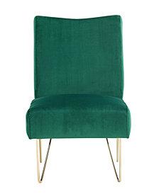 Velvet Hairpin Slipper Chair, Green