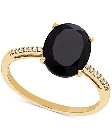 Onyx (10 x 8mm) & Diamond Accent Ring in 14k Gold