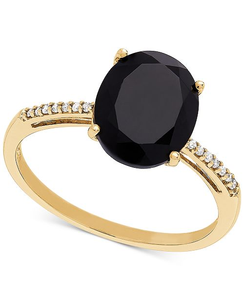 Honora Style Onyx (10 x 8mm) & Diamond Accent Ring in 14k Gold