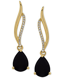 Onyx (8 x 6mm) & Diamond Accent Drop Earrings in 14k Gold