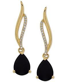b8ebd1aff Onyx (8 x 6mm) & Diamond Accent Drop Earrings in 14k Gold