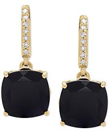 Onyx (8mm) & Diamond Accent Drop Earrings in 14k Gold