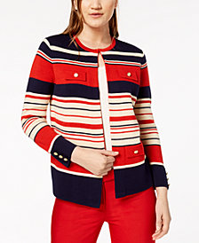 Anne Klein Striped Flyaway Cardigan