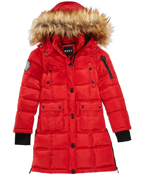 9c861cfe686 DKNY Big Girls Hooded Bubble Jacket with Faux-Fur Trim & Reviews ...