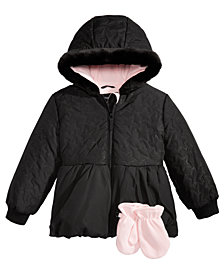 S. Rothschild Little Girls Hooded Quilted Jacket with Mittens