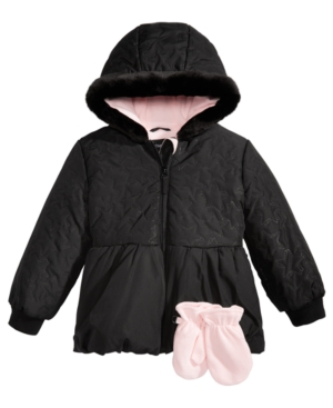 S Rothschild Toddler Girls Hooded Quilted Jacket with Mittens