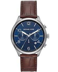 Michael Kors Men's Chronograph Merrick Brown Leather Strap Watch 42mm