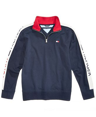 Tommy Hilfiger Toddler Boys Colorblocked Quarter Zip Cotton Pullover
