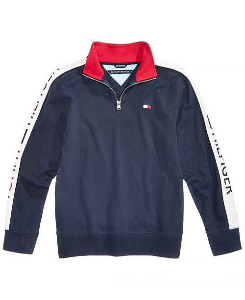Tommy Hilfiger Big Boys Colorblocked Quarter-Zip Pullover - Sweaters ... f7c61128e9