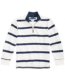 Tommy Hilfiger Big Boys Rugby Striped Quarter-Zip Cotton Pullover