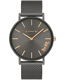COACH Women's Perry Created for Macy's Gray Stainless Steel Mesh Bracelet Watch 36mm