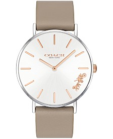 COACH Women's Perry Created for Macy's Stone Leather Strap Watch 36mm
