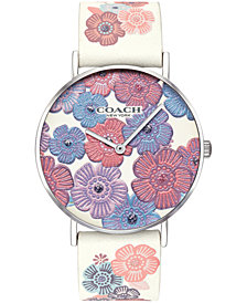 COACH Women's Perry Chalk Leather Strap Watch 36mm, Created for Macy's