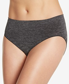 Jockey Smooth and Shine Seamfree Heathered Hi Cut Underwear 2188, available in extended sizes
