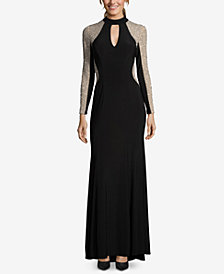 XSCAPE Embellished Mock-Neck Illusion Gown