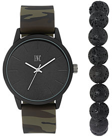 I.N.C. International Concepts Men's Camouflage Silicone Strap Watch 45mm Gift Set, Created for Macy's
