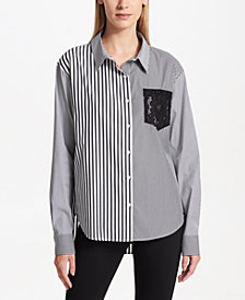 DKNY Colorblocked Oxford Shirt, Created for Macy's