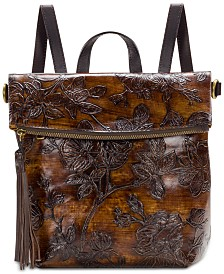 Patricia Nash Bark Leaves Luzille Embossed Leather Backpack, Created for Macy's