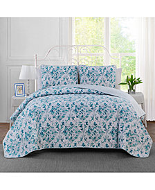 Keeco Watercolor Damask Reversible 3-Pc. Full/Queen Quilt Set