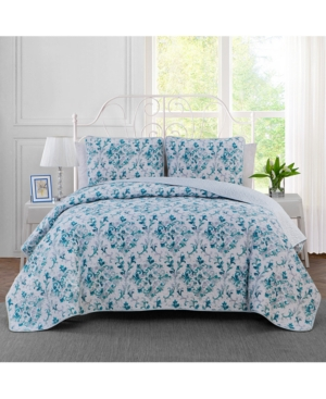 Keeco Watercolor Damask Reversible 3Pc King Quilt Set