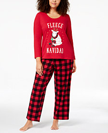 Matching Family Pajamas Plus Size Women's Fleece Navidad Pajama Set, Created for Macy's