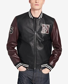 Tommy Hilfiger Men's Big & Tall Faux-Leather Varsity Jacket, Created for Macy's