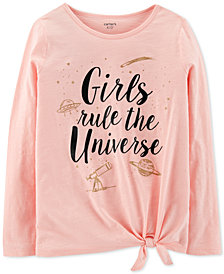 Carter's Little & Big Girls Tie-Front Long-Sleeve Cotton T-Shirt