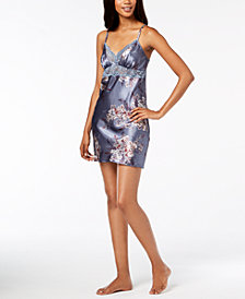 Thalia Sodi Printed Woven Lace-Trim Chemise, Created for Macy's