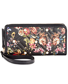 I.N.C. Quiin XO Floral Zip Around Wallet, Created for Macy's