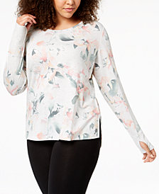 Ideology Plus Size Printed Long-Sleeve T-Shirt, Created for Macy's