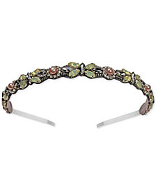 Deepa Gunmetal-Tone Mint Green Crystal Headband
