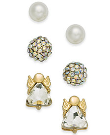 Holiday Lane Gold-Tone 3-Pc. Set Angel Crystal Ball & Imitation Pearl Stud Earrings, Created for Macy's