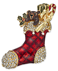 Charter Club Gold-Tone Crystal & Epoxy Stocking Pin, Created for Macy's