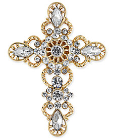 Holiday Lane Gold-Tone Crystal Ornamental Cross Pin, Created for Macy's