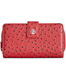Giani Bernini Embossed Faux Ostrich All In One Wallet, Created for Macy's
